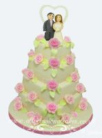 Heart Shaped Wedding Cake with Pink Roses