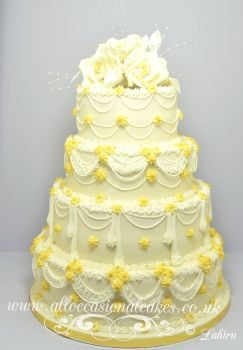 royal icing hand work wedding cake