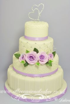 Royal Icing Work with Lilac Roses wedding cake £ 425