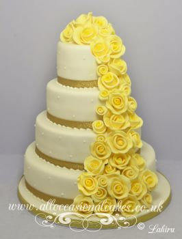 Yellow Rose Cascade Wedding Cake