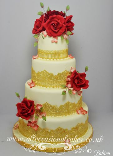 Gold Lace with Ruby Rose Wedding Cake