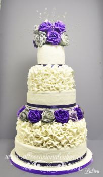 Purple and Silver Rose Wedding Cakes