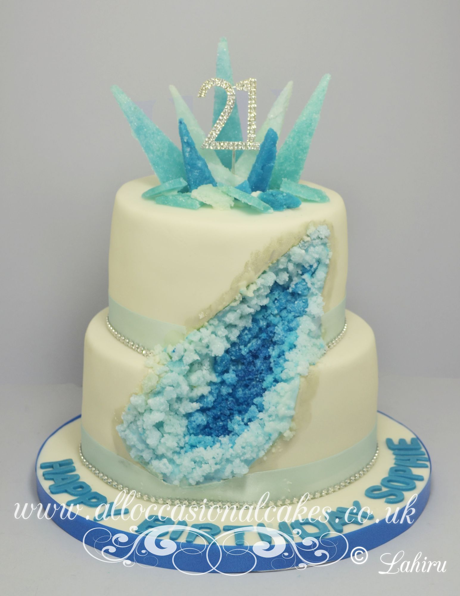 crystal geode birthday cake