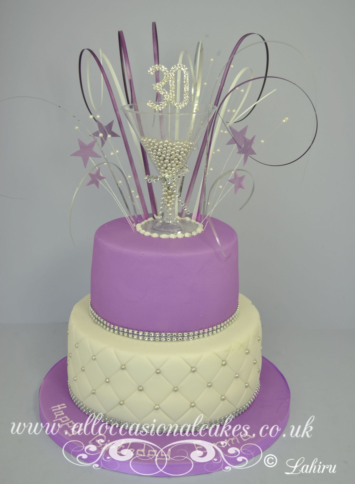 lilac themed champagne glasses cake