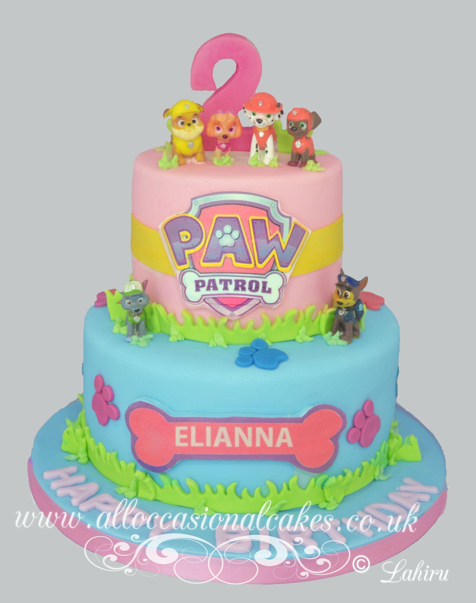 paw patrol theme birthday cake