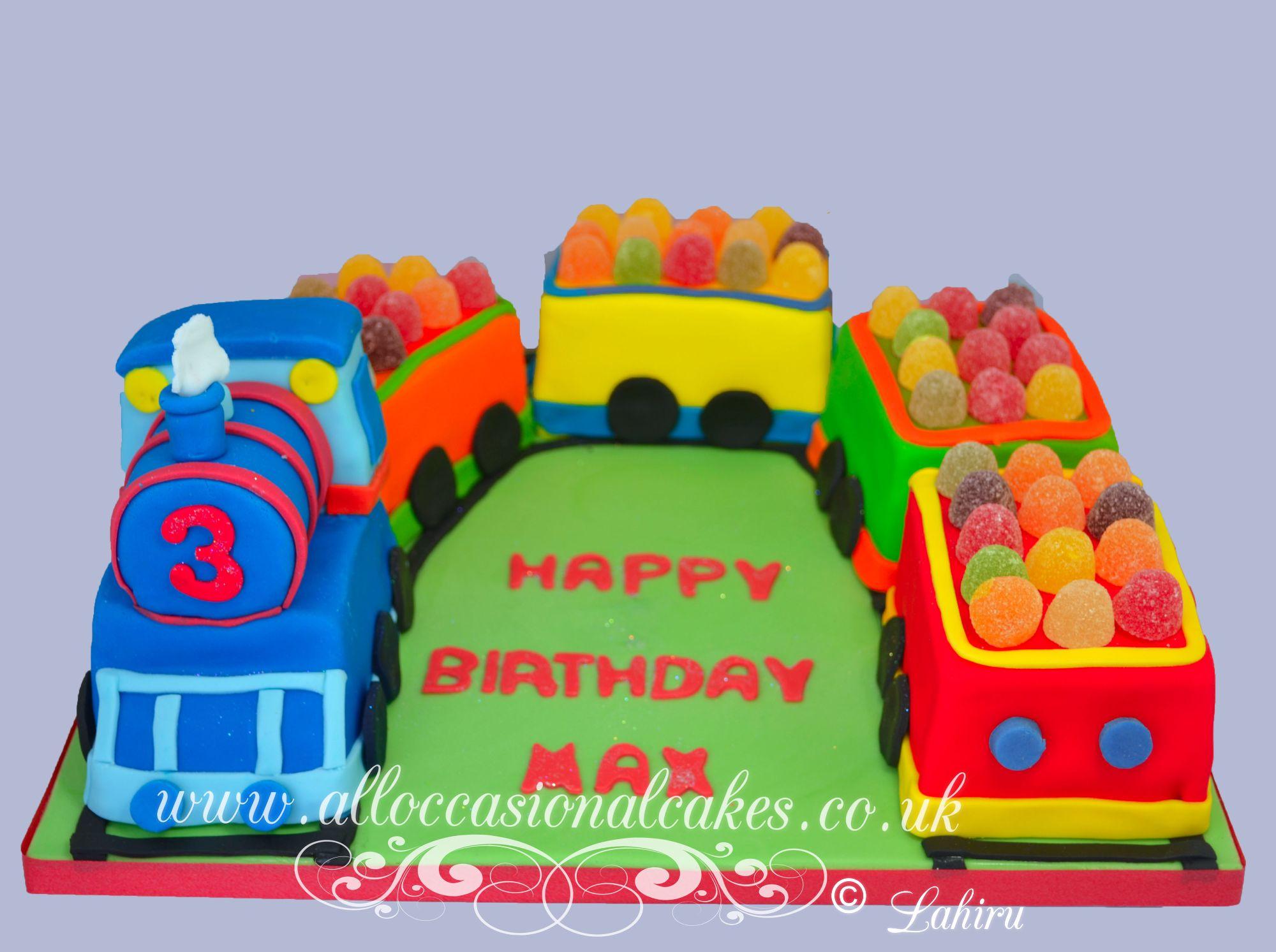 sweets train birthday cake