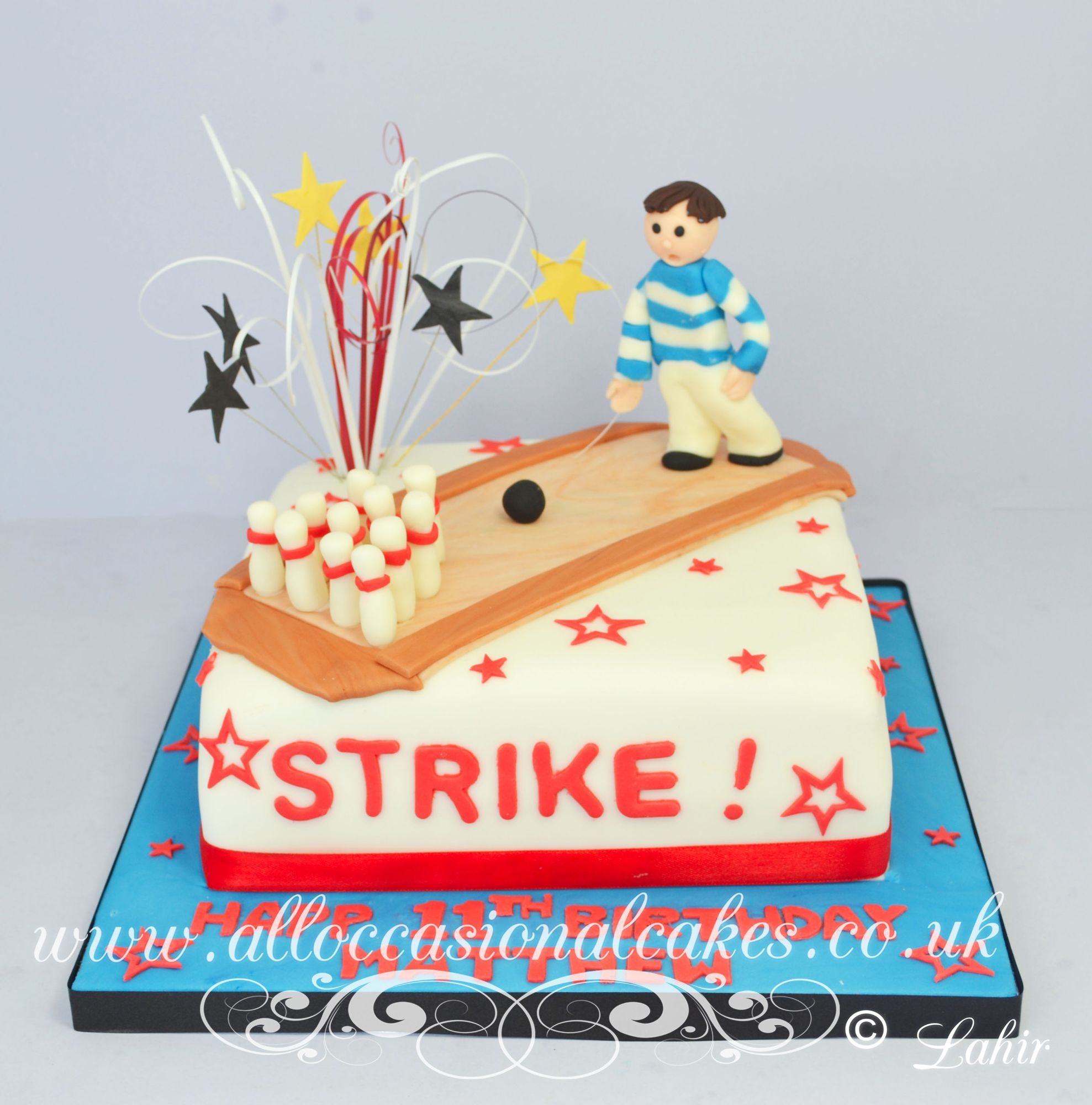 bowling themed cake