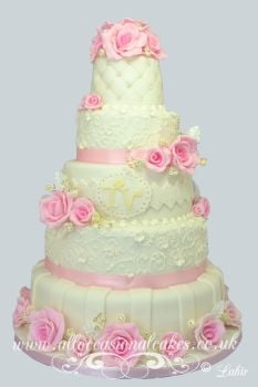 5 tier pink rose wedding cake