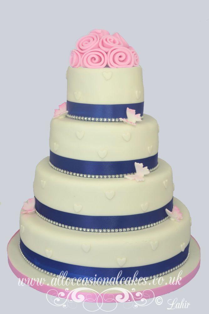 Pink Rose with Blue Ribbon Wedding Cake