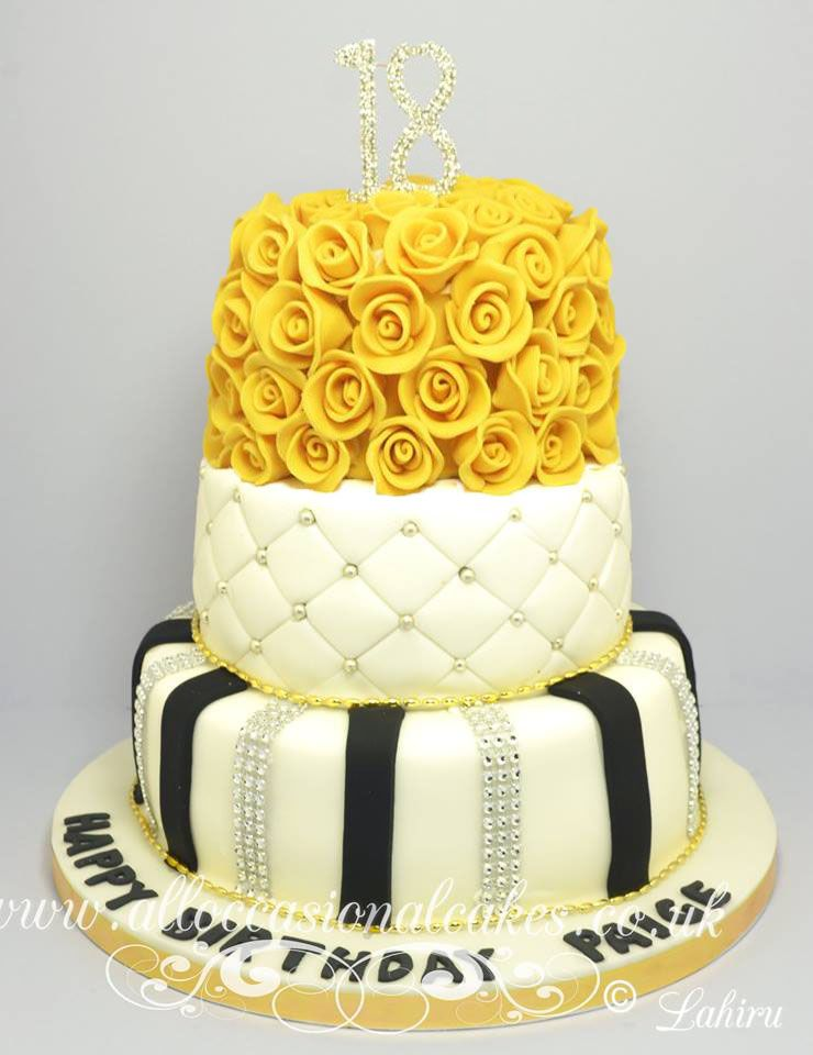 gold rose 18th birthday cake