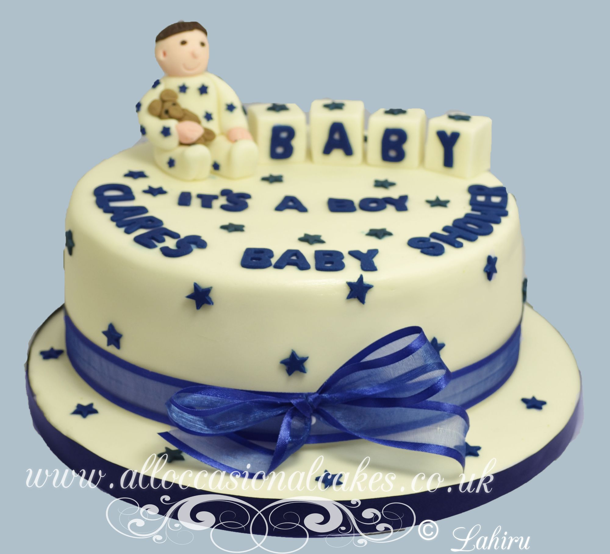 christening cake with baby boy