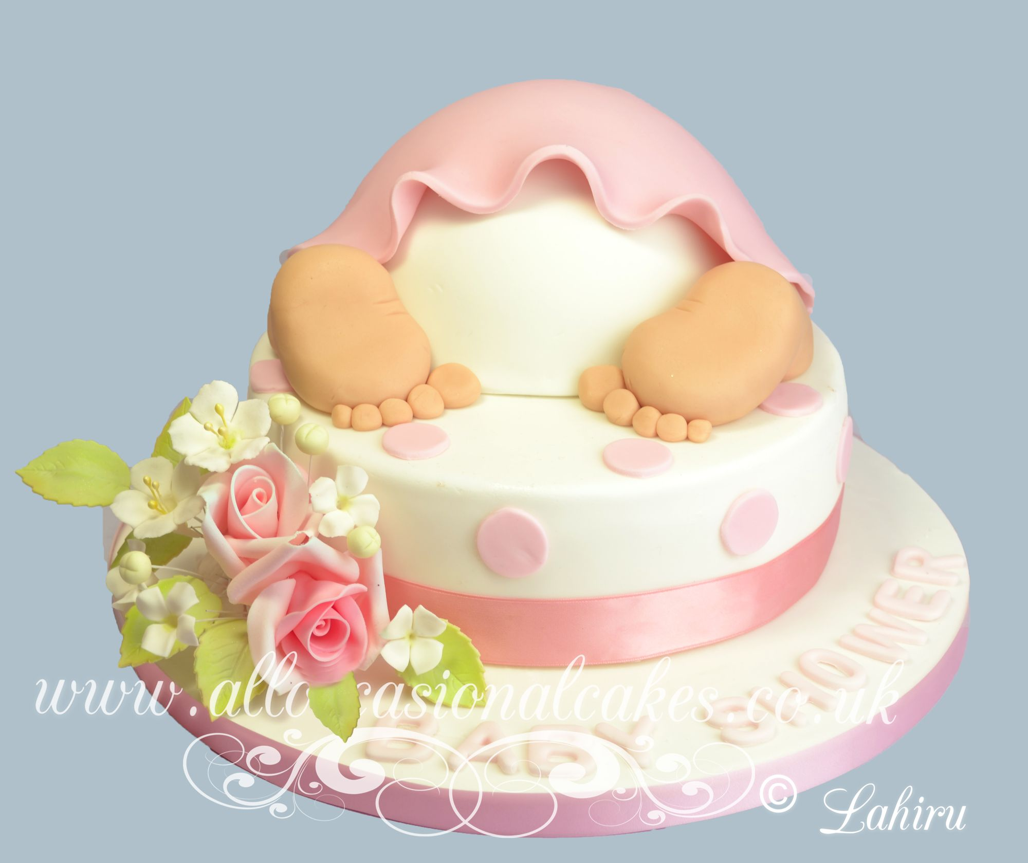 baby bum christening cake for baby girl