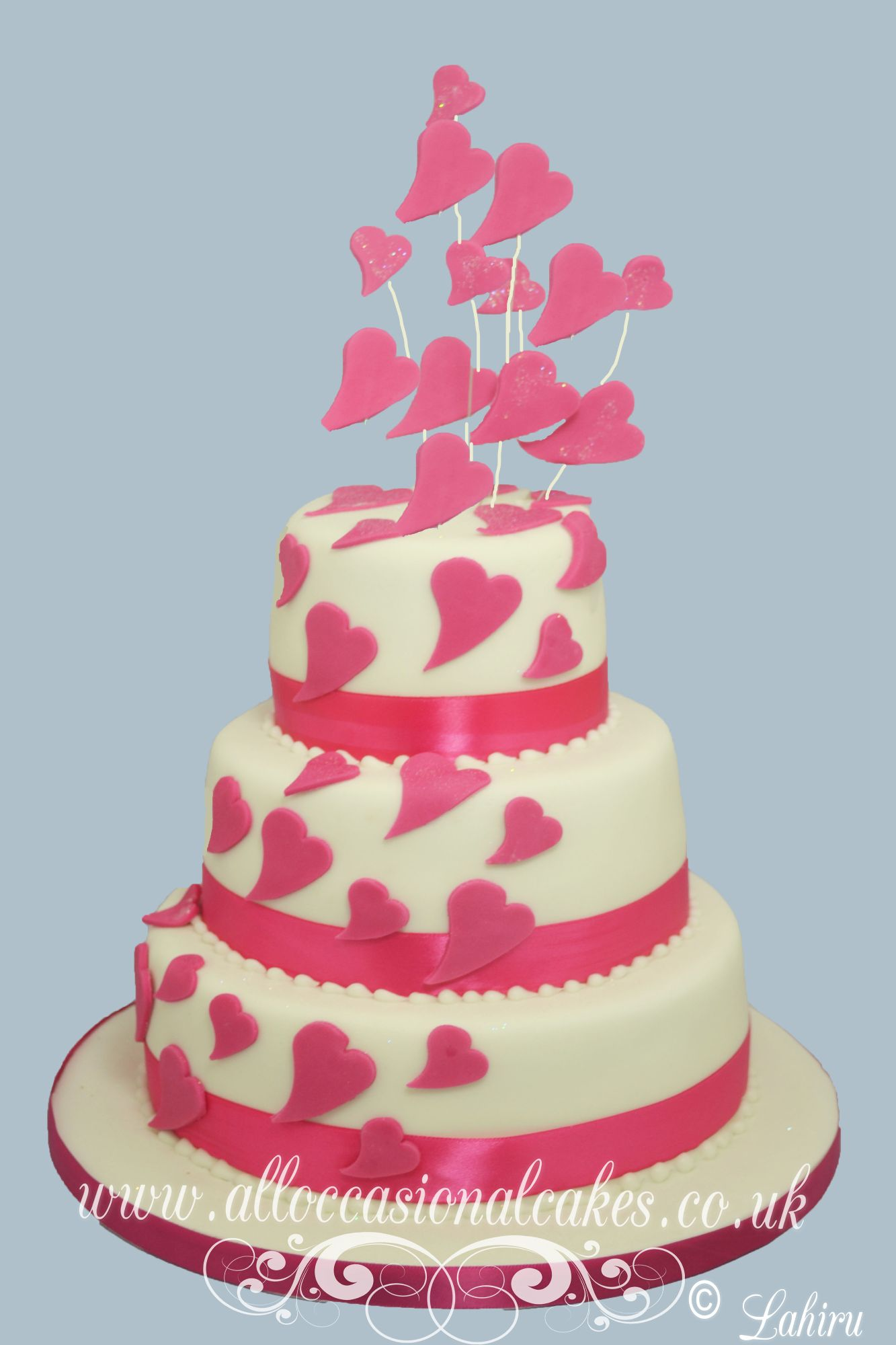 Pink heart cascade