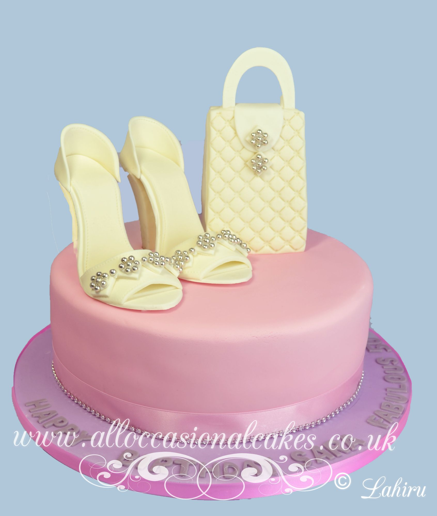 cream high heels with handbag cake