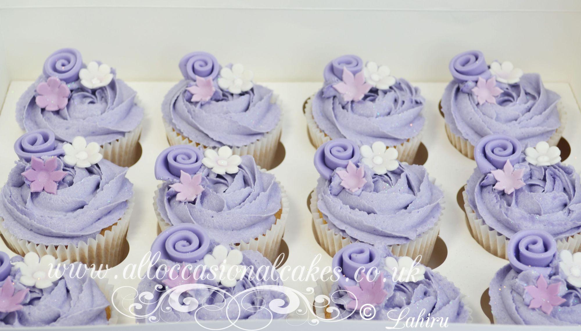 lilac cream cupcakes