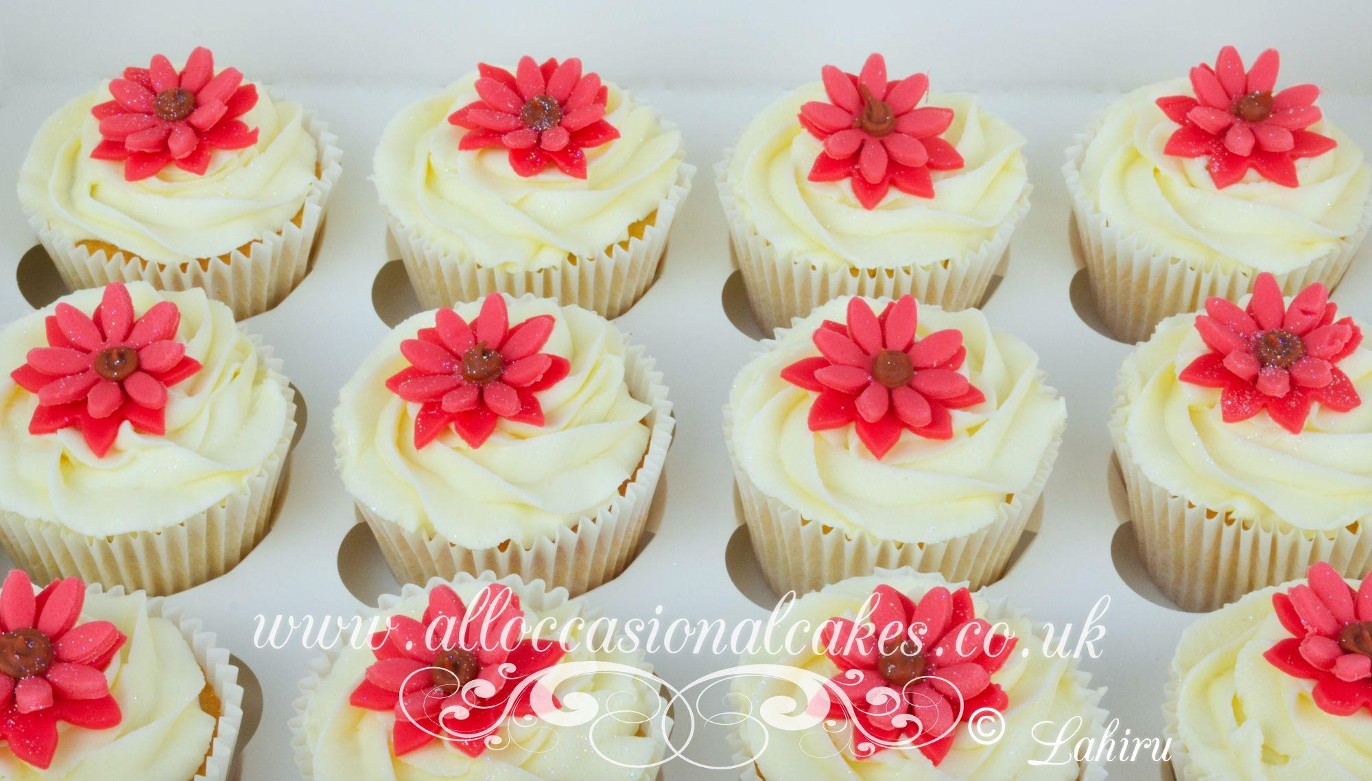 daisy flower cupcakes