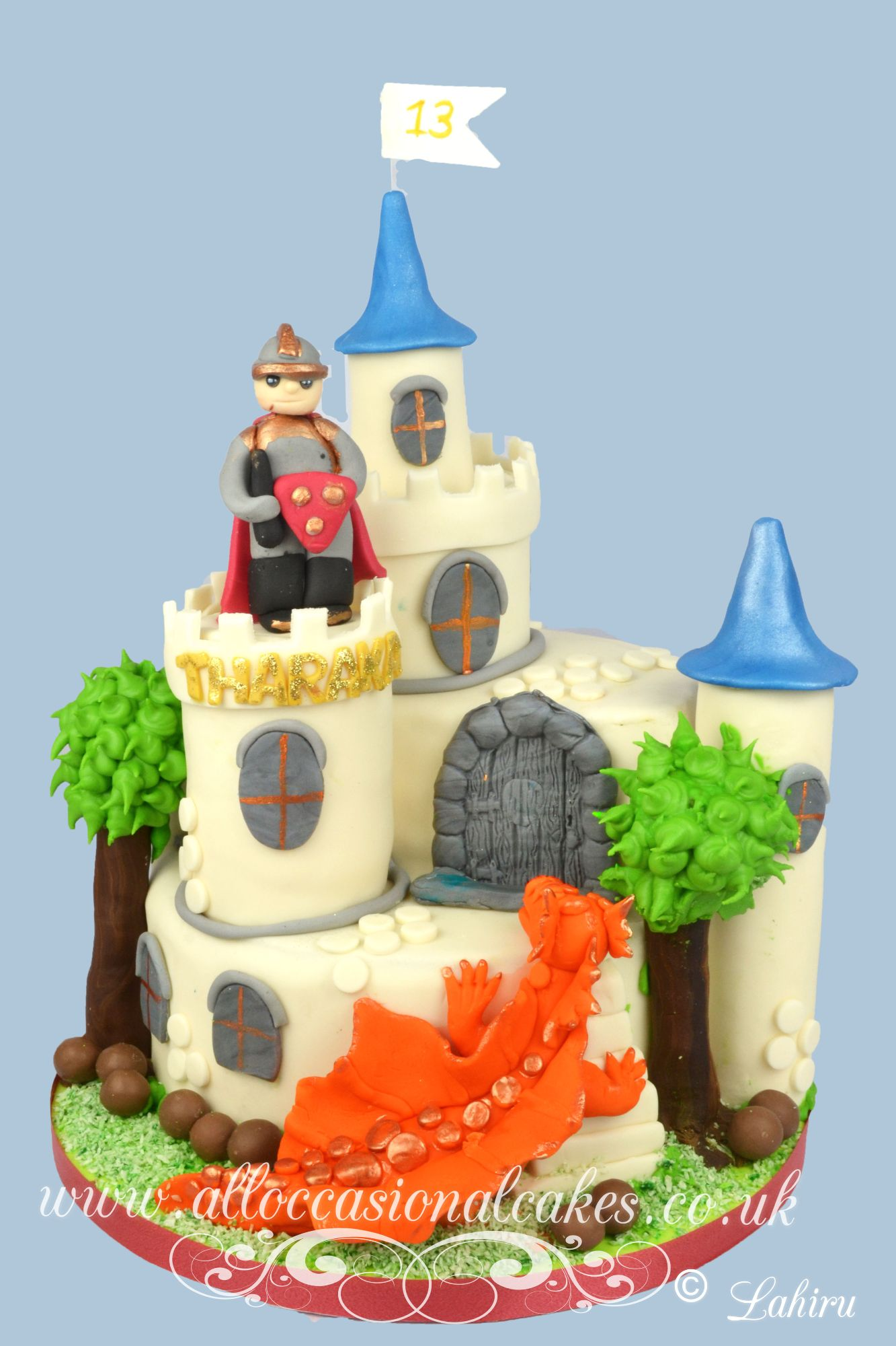 castle with dragon birthday cake
