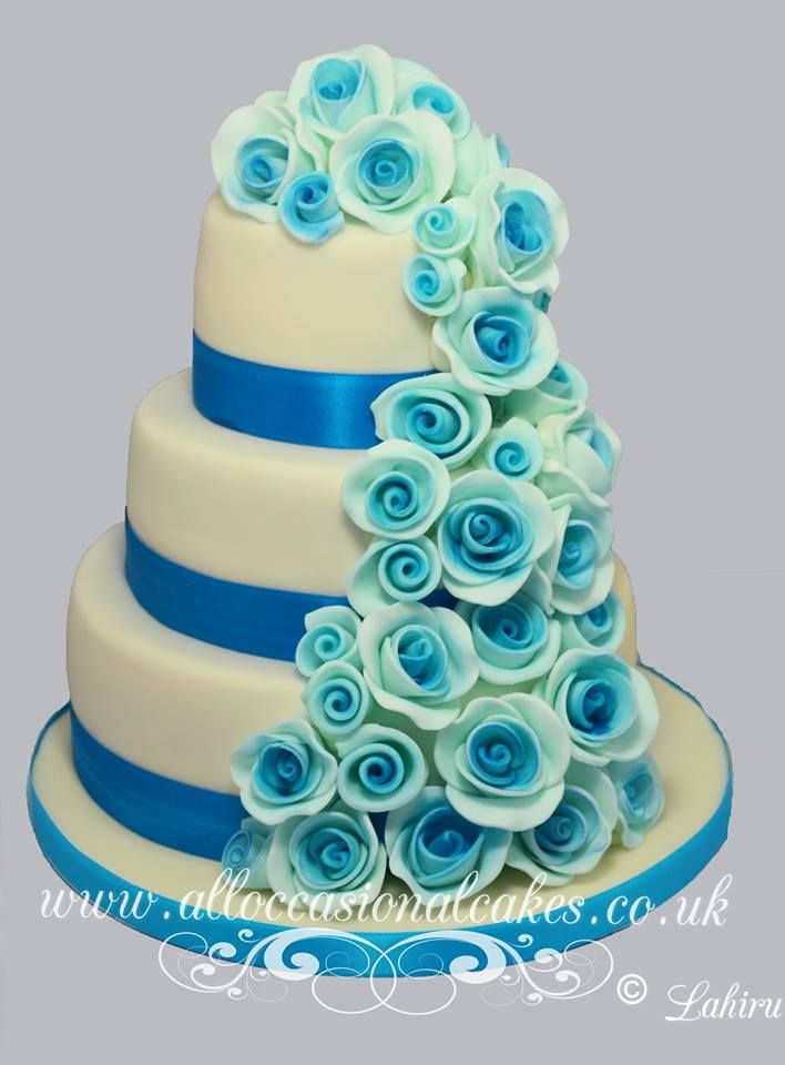 Blue shade rose cascade wedding cake bristol