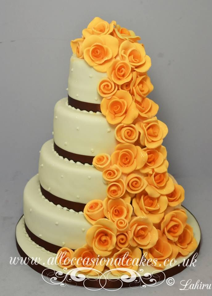 Orang rose cascade wedding cake Bristol
