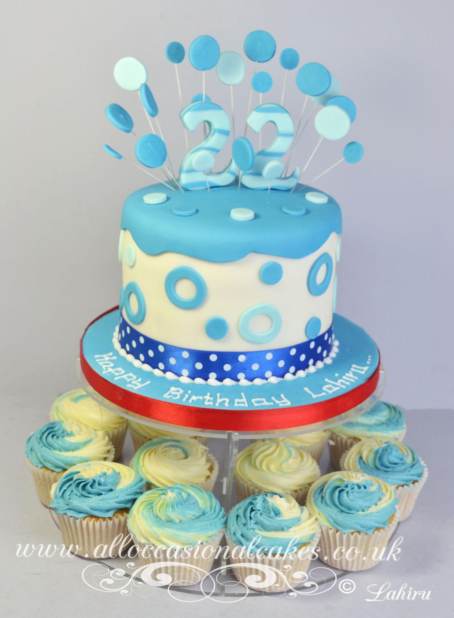 blue dotted cupcakes