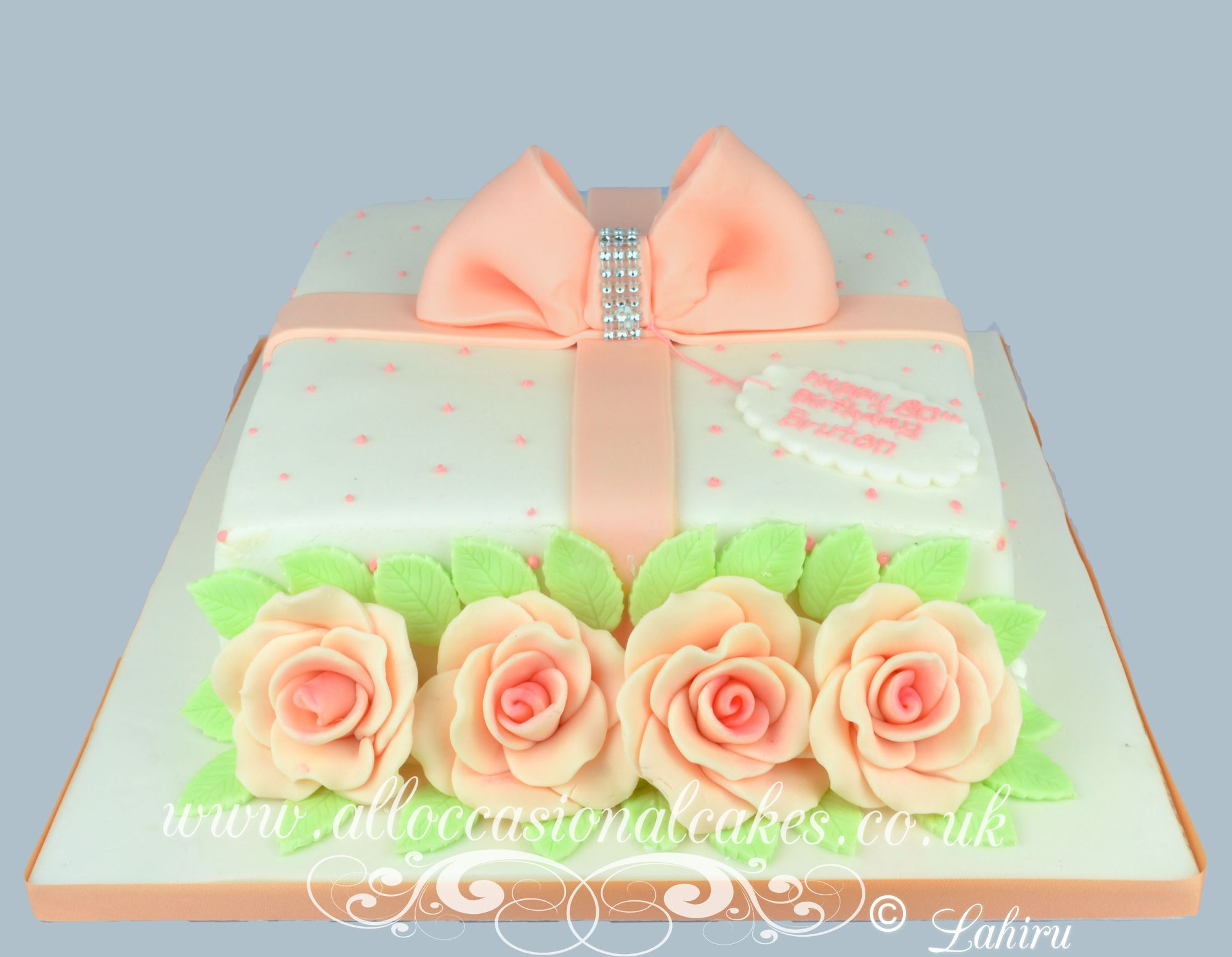 peach rose parcel birthday cake for women