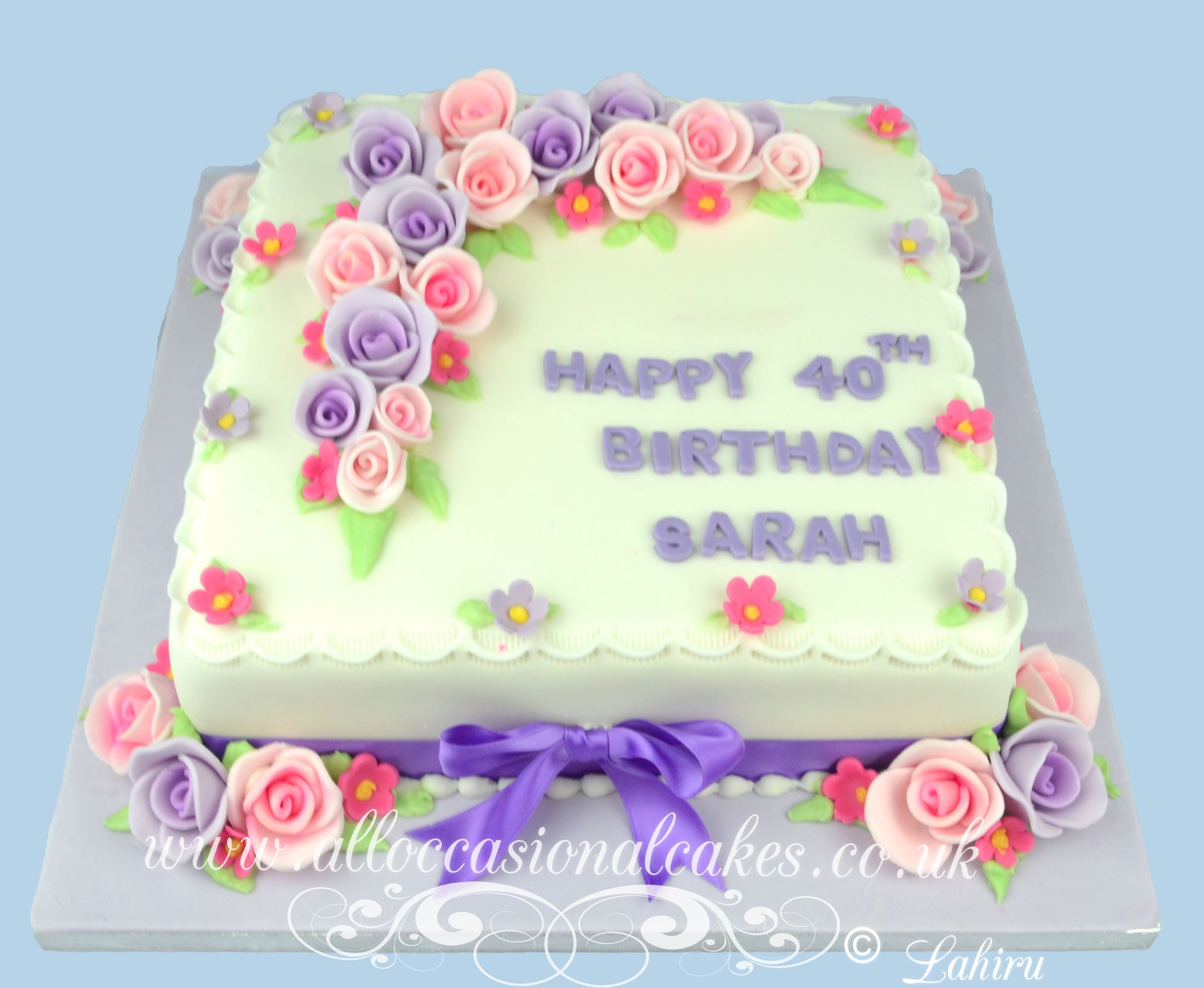 rose flowers 40th birthday cake