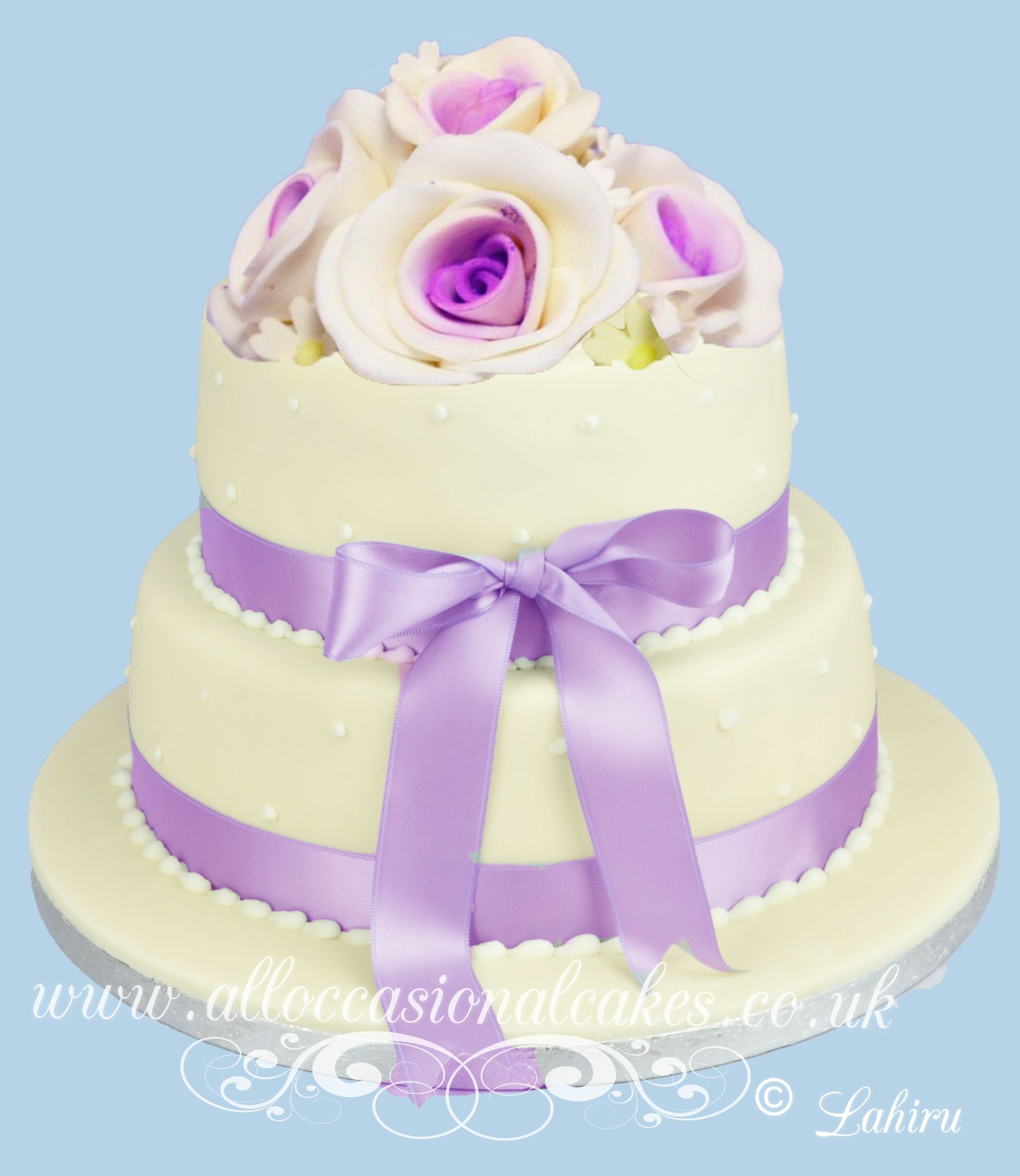 2 tier lilac wedding cake