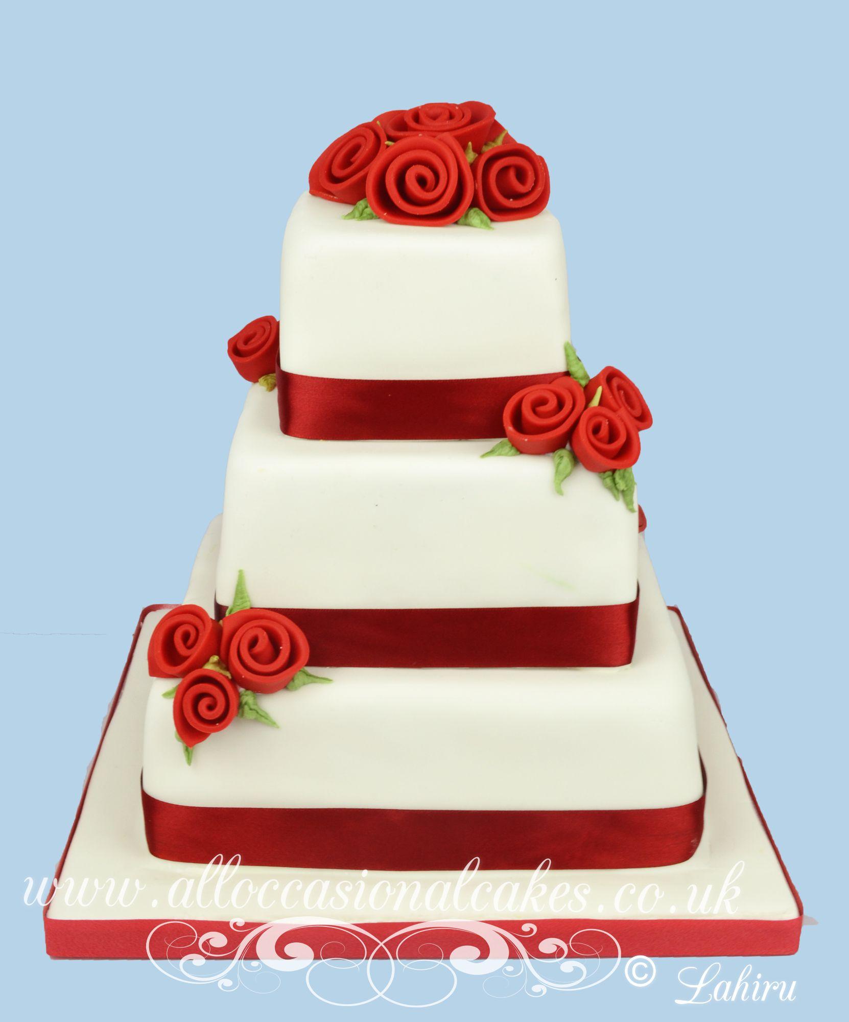 ruby colour wedding cake