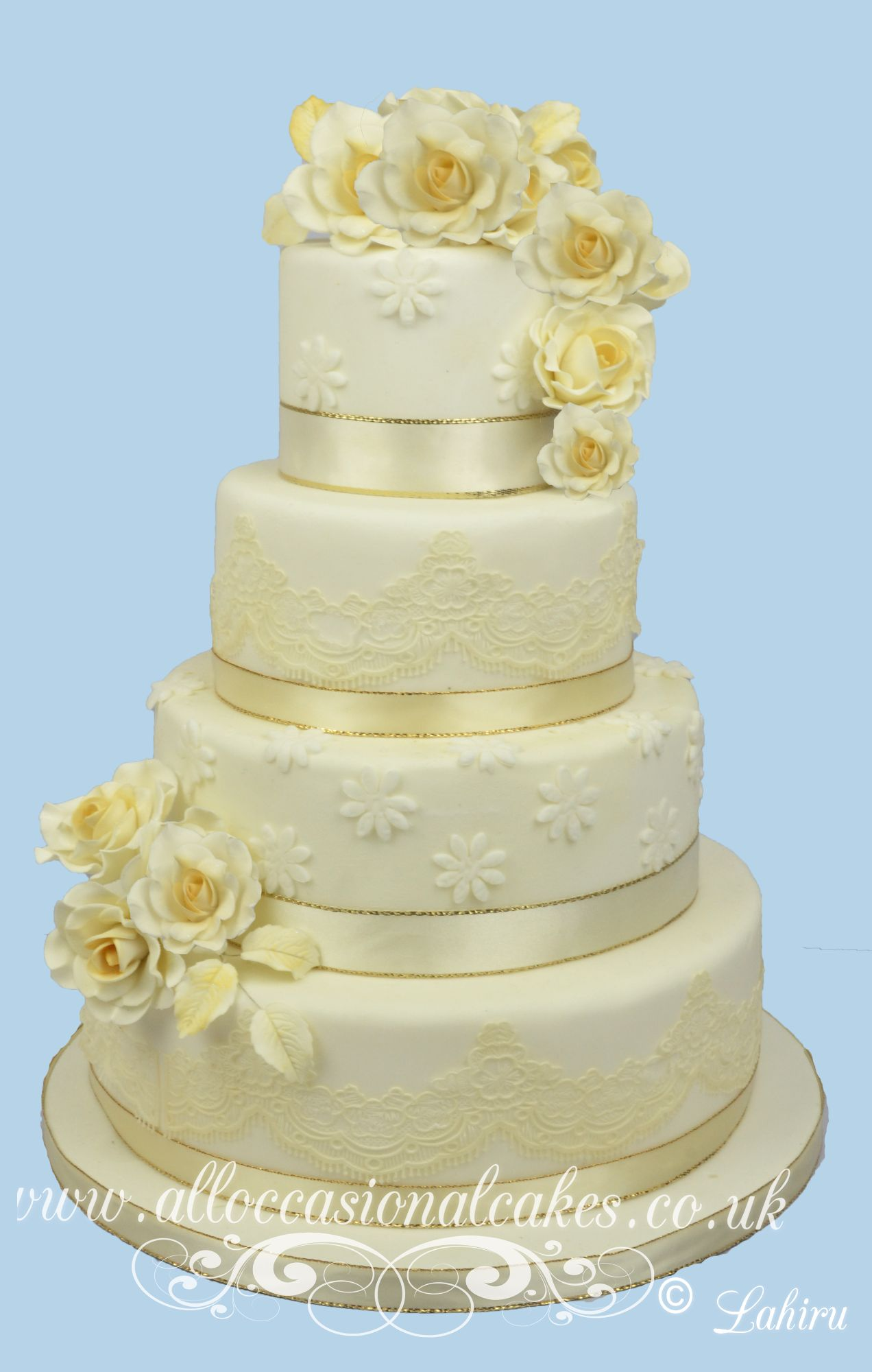 Ruby rose cascade wedding cake bristol