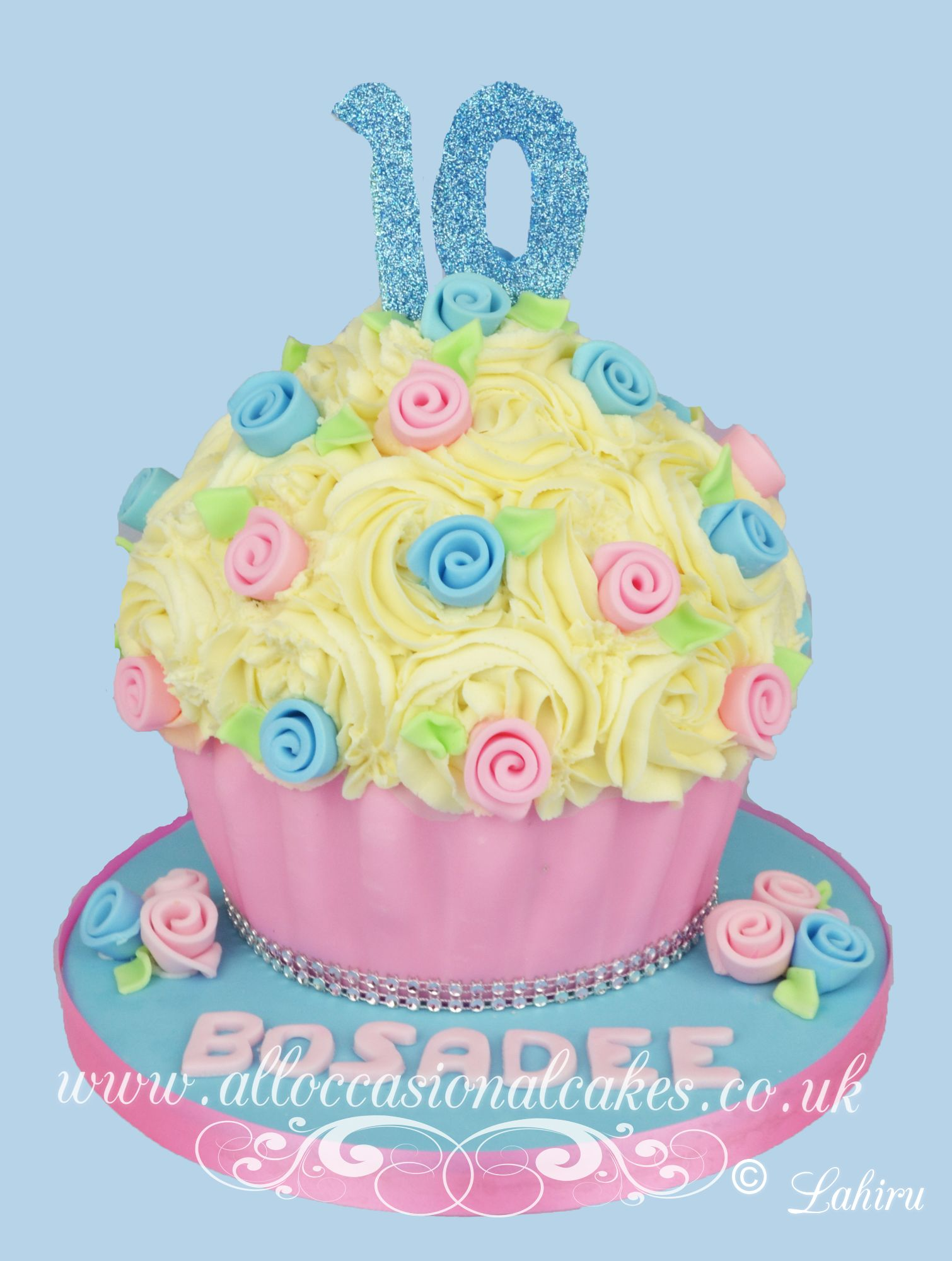 pink and blue giant cupcake