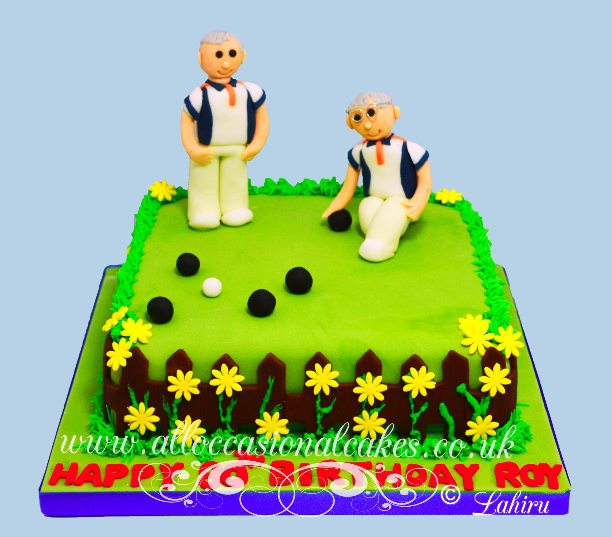 out door bowling cake