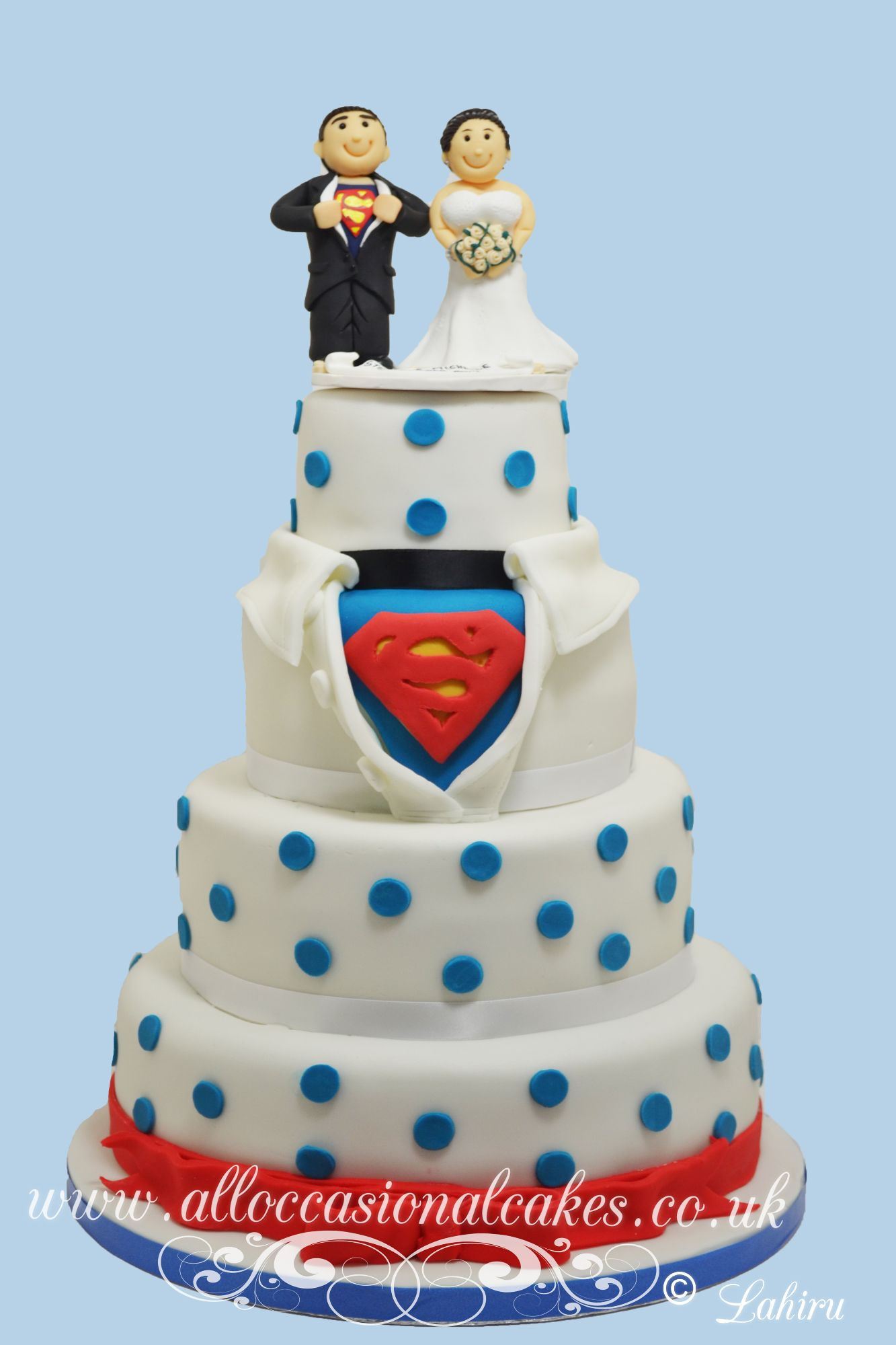 superman themed wedding cake