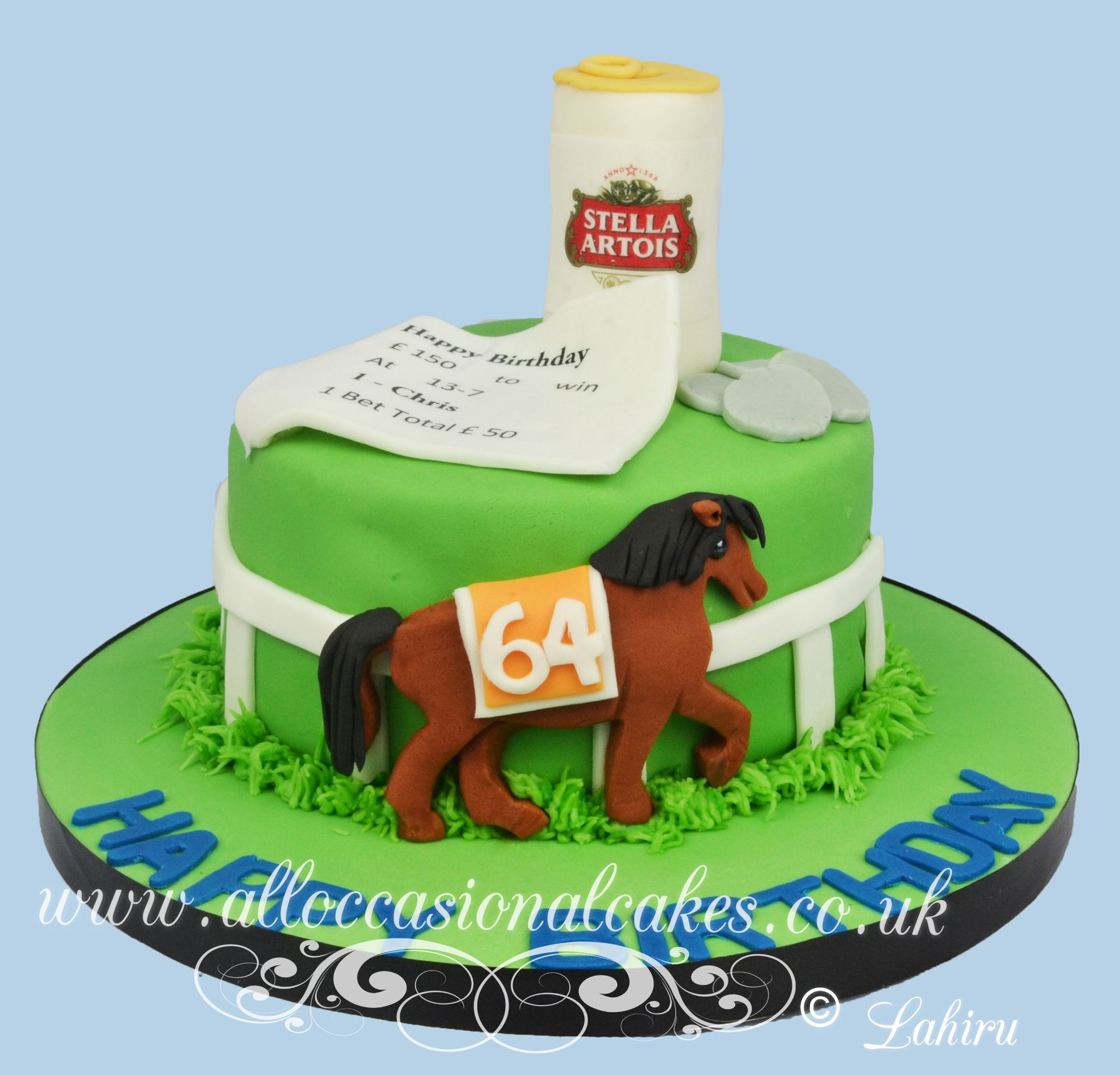 horse race themed birthday cake