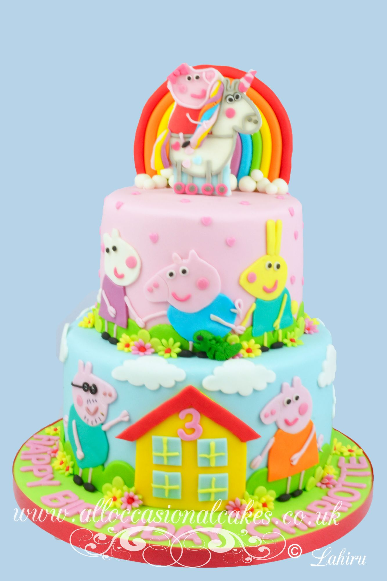 peppa pig family and friends birthday cake