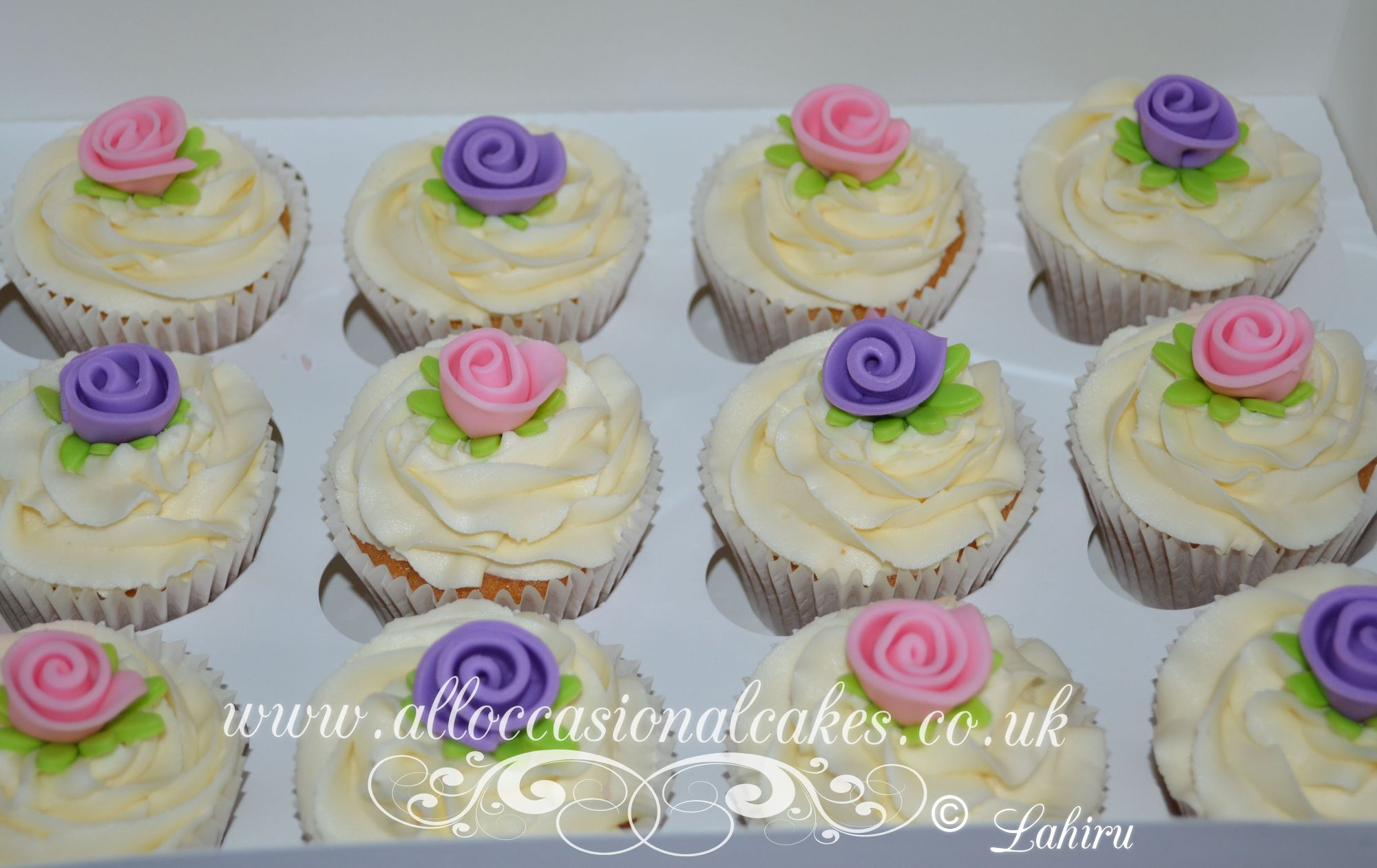 pink and lilac rose cupcake
