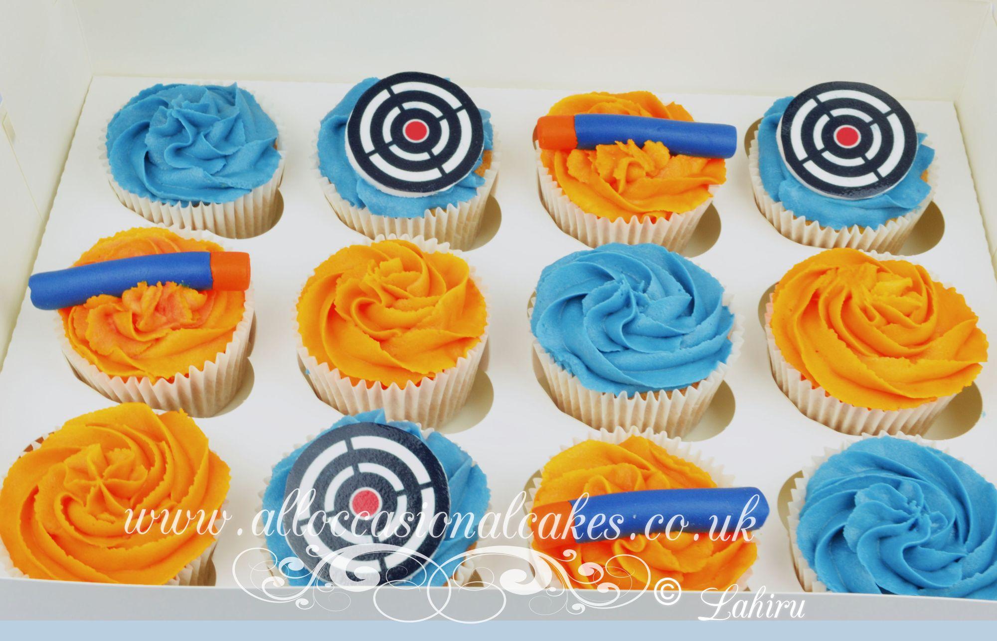 nerf gun themed cupcakes