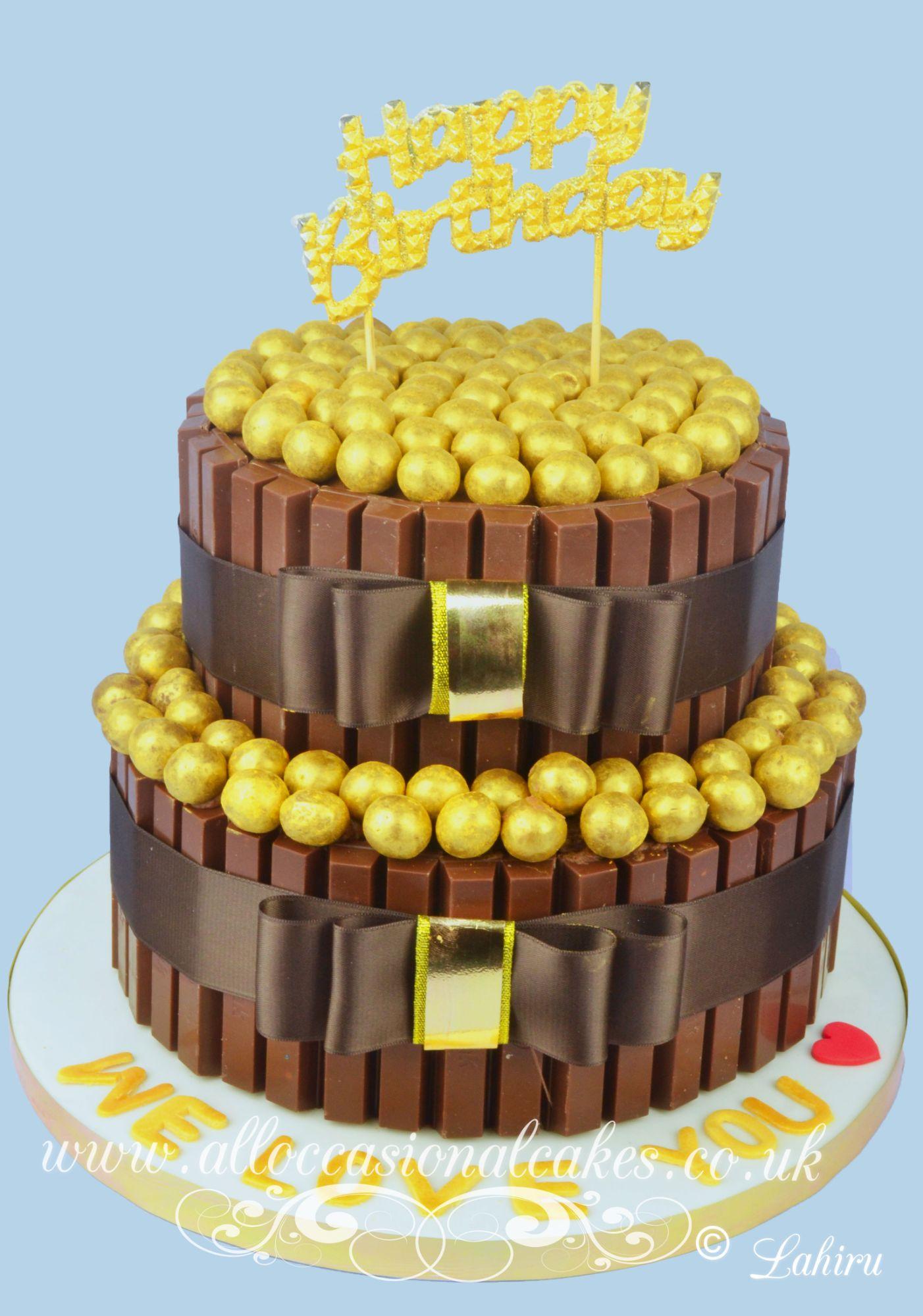 kitkat cake with gold balls birthday cake