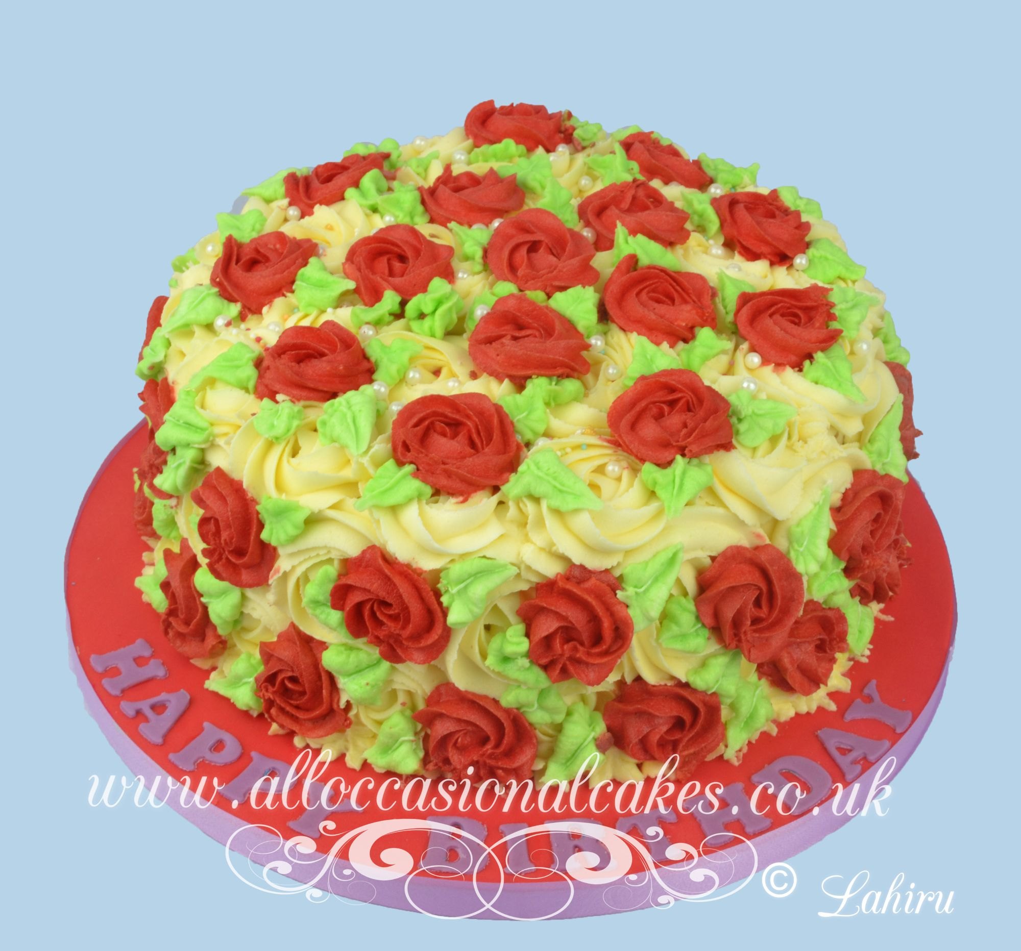 red butter cream roses cake