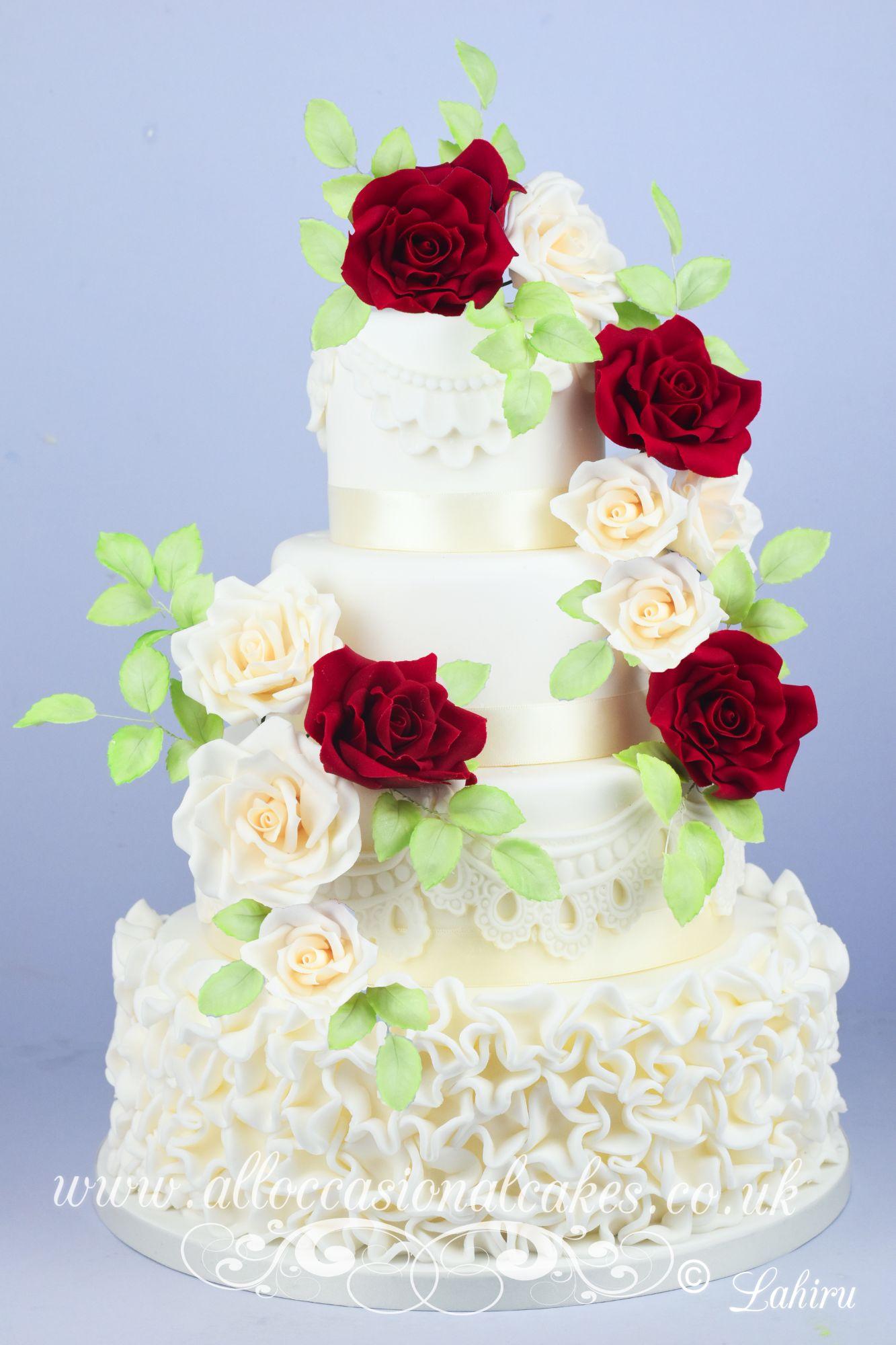 ruby and ivory wedding cake
