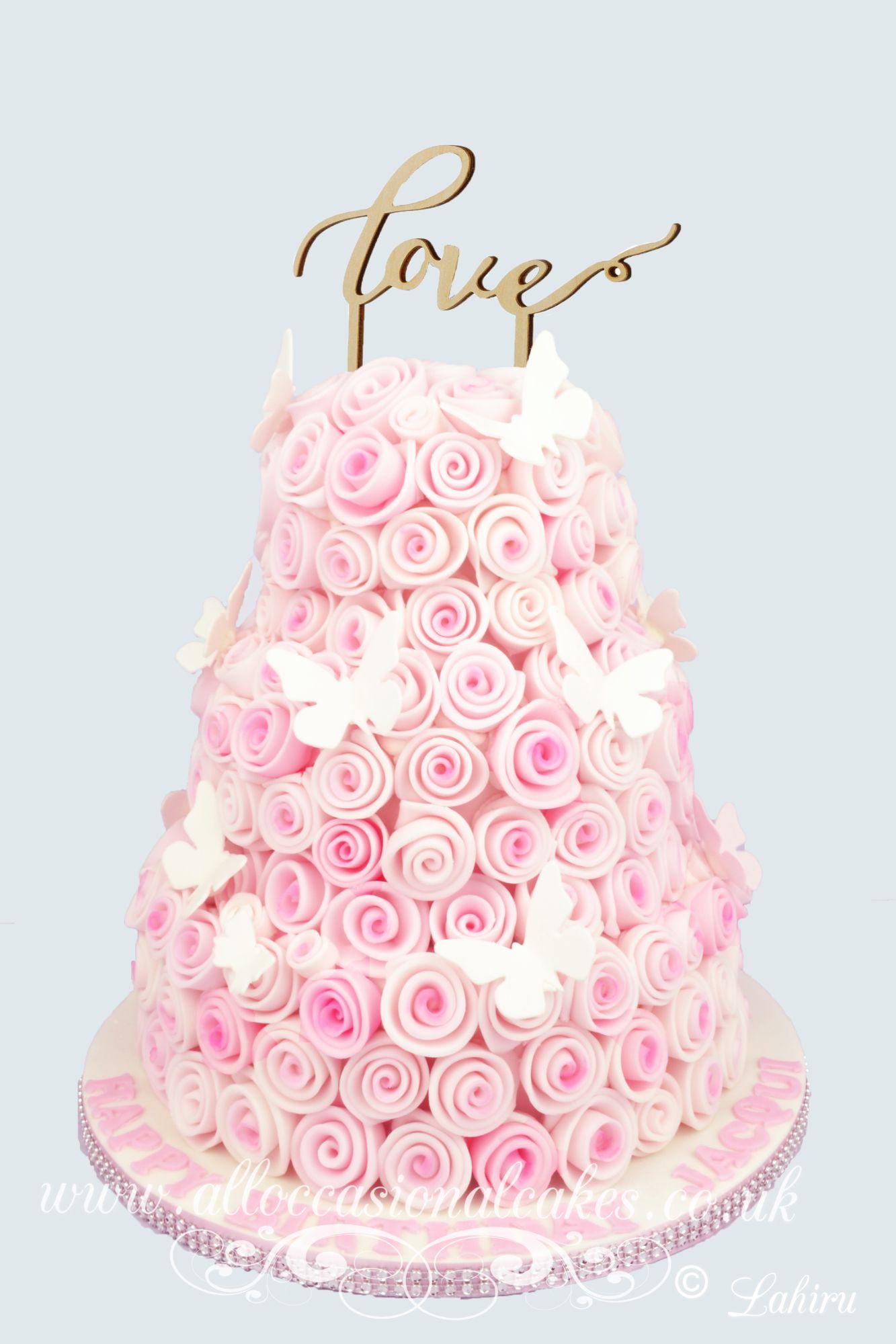 full of rose covered cake
