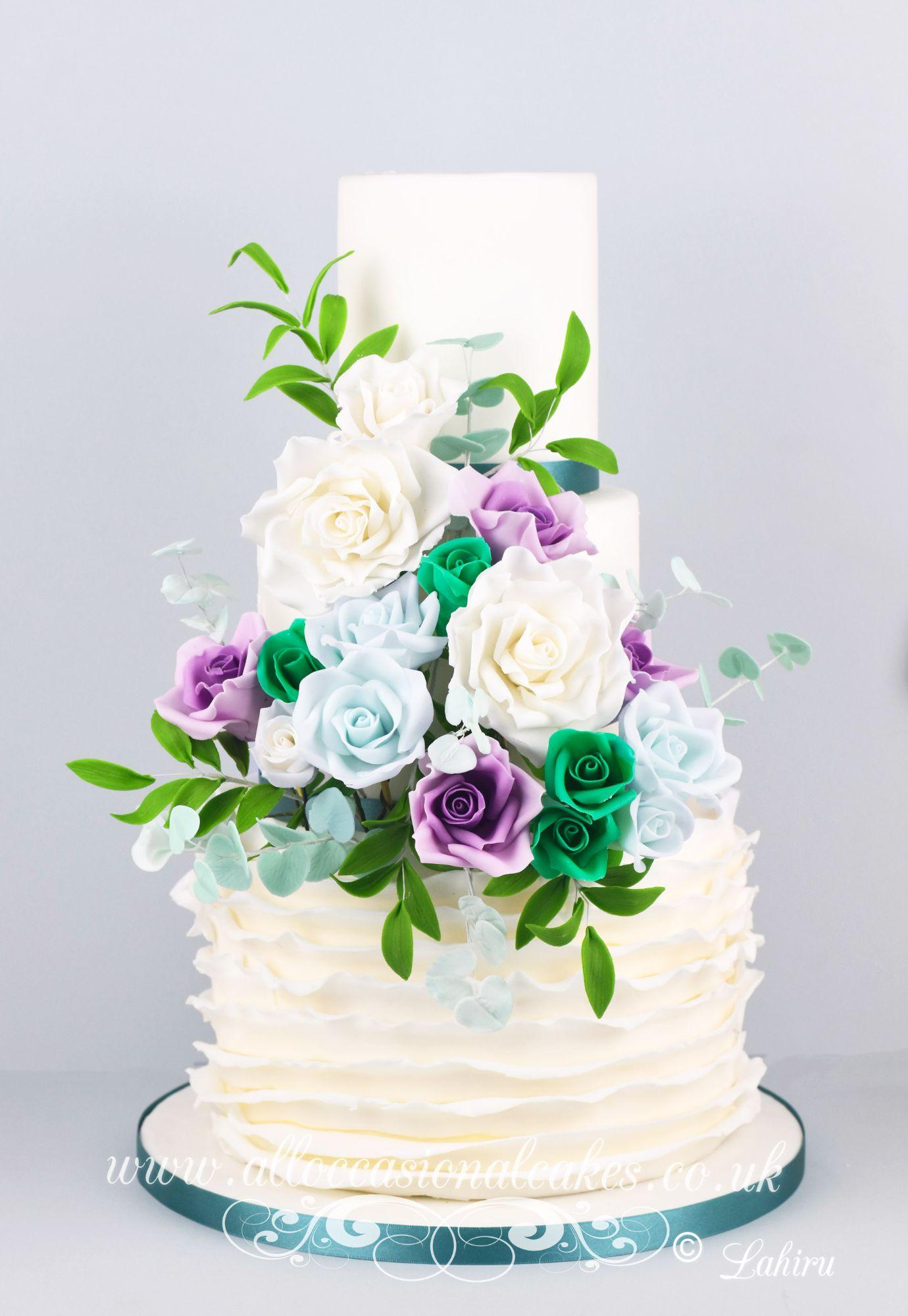 teal green wedding cake