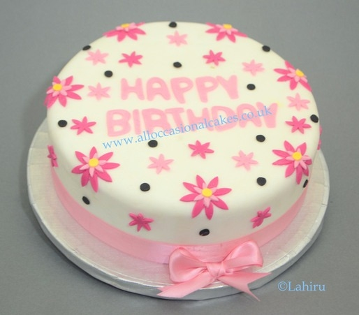 Pink Daisy Birthday cake