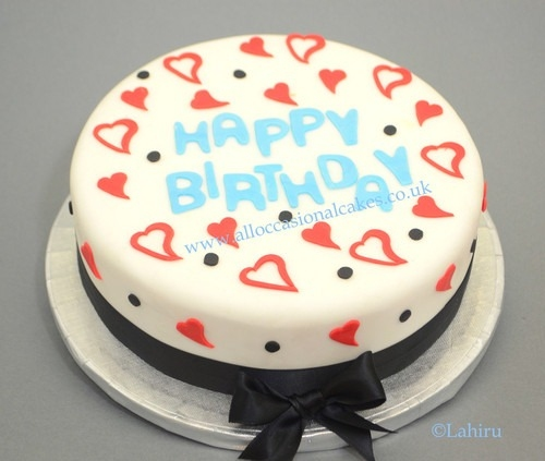 Red heart birthday cake