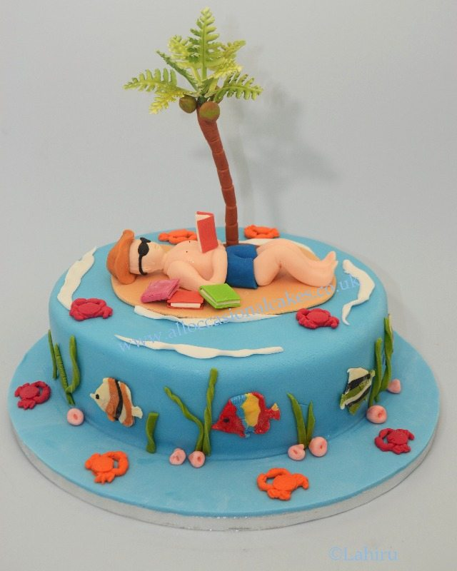 sandy beach mens birthday cake
