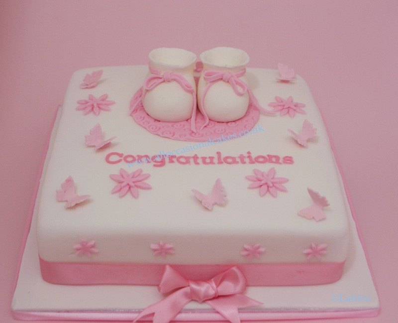 baby booties christening cake for baby girl