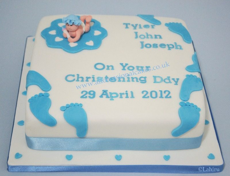 baby and foot print christening cake