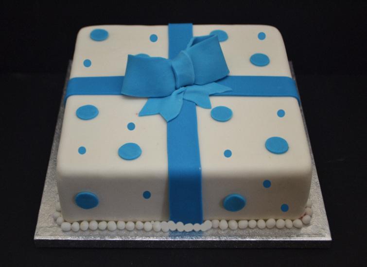 blue dot parcel cake