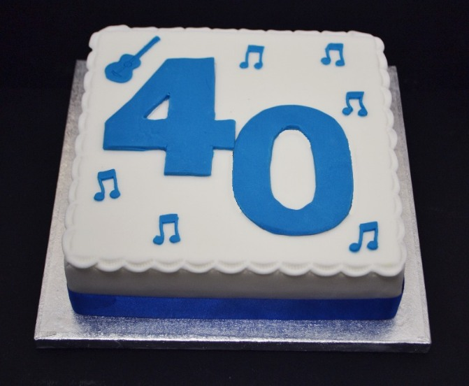number 40 with music notes cake