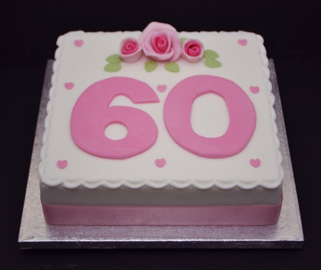 number 60 with pink roses cake