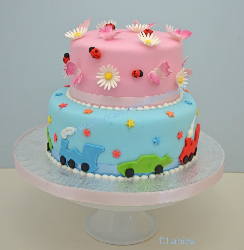 pink & blue birthday cake